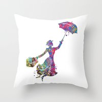 mary poppins Throw Pillows featuring Mary Poppins by Bitter Moon