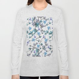 Modern lavender teal floral elephant butterfly pattern Long Sleeve T-shirt