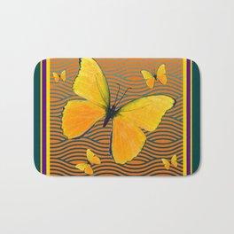 Dark Teal Yellow Butterflies Pattern Bath Mat