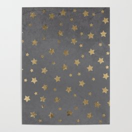 gold christmas stars geometric pattern grey graphite cement concrete Poster