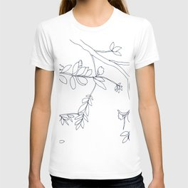 Branches and Leaves, Drawing in Black and White T-shirt