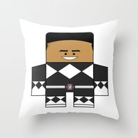 power rangers Throw Pillows featuring Mighty Morphin Power Rangers - The Original Black Ranger Unmasked (Zack) by Choo Koon Designs