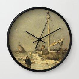 Johan Hendrik Weissenbruch - Bom voor de kust Wall Clock