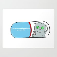 Add a dose of happiness cat in pill illustration Art Print