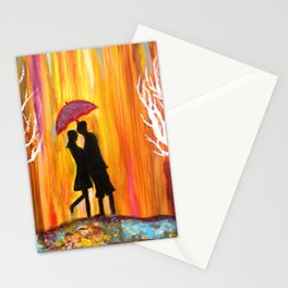 Romance in the Rain I romantic gift art Stationery Cards