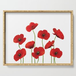 Poppies Field white background Serving Tray
