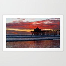 Huntington Beach Sunset  1/19/14 Art Print