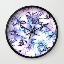 Violet pink teal hand painted sketch elegant floral Wall Clock