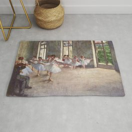 Ballet Rehearsal 1873 By Edgar Degas | Reproduction | Famous French Painter Rug