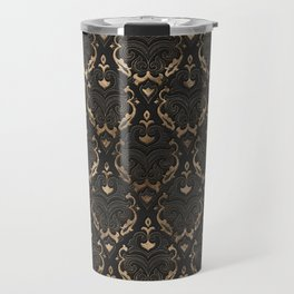 Persian Oriental Pattern - Black Leather and gold Travel Mug