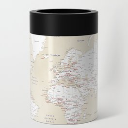 """Cream, white, red and navy blue world map, """"Deuce"""" Can Cooler"""