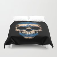israel Duvet Covers featuring Dark Skull with Flag of Israel by Jeff Bartels