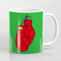 boxing Mugs featuring Boxing Gloves by Artistic Dyslexia