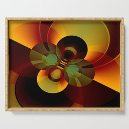 Brown and Gold Circles Geometric Abstract Serving Tray