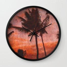 Maui Palms at Sunset Wall Clock