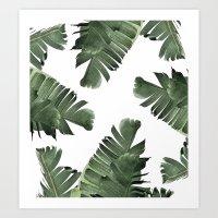 banana leaf Art Prints featuring Banana Leaf Frenzy #society6 by 83 Oranges™