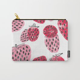 Sweet Pink and Red Textured Strawberries Carry-All Pouch