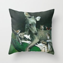 Whippet With Little Friends Throw Pillow