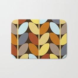 Retro 70s Color Palette Leaf Pattern Bath Mat