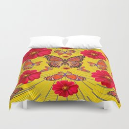 RED FLOWERS MONARCH BUTTERFLY FANTASY ART Duvet Cover