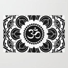 Black and White Mandala   Flower Mandhala Rug