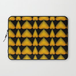 Alternating pattern of yellow hearts and stripes on a black background. Laptop Sleeve