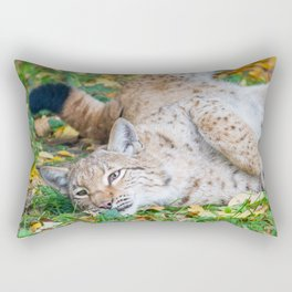 Playful Lynx Rectangular Pillow