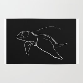 The Sea Turtle Line - White & Black Rug