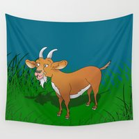 goat Wall Tapestries featuring  Goat  by mailboxdisco
