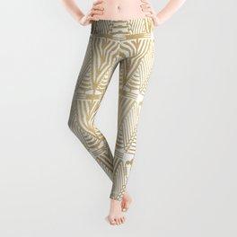 Gold foil and white art-deco pattern Leggings