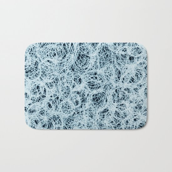 Powder Blue Ink on Black  Bath Mat