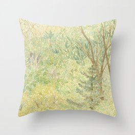 Watercolor Painting of the Spring Green Woods Mysterious Calming Forest Throw Pillow