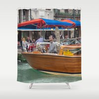 cigarette Shower Curtains featuring Macho Cigarette Smoking Boatman in Venice by Carncross Photography