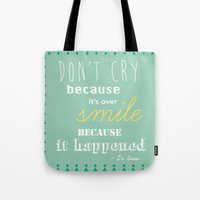 dr seuss Tote Bags featuring Dr. Seuss Quote by Michelle Krasny