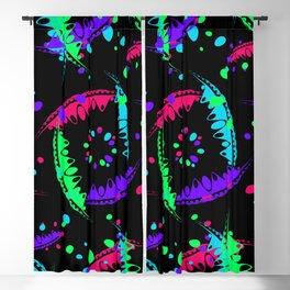Pattern of bright leaves and petals of garden plants in childrens colors on a black background. Blackout Curtain