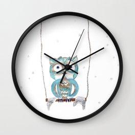 Owl Fun #2 #blue #gold #drawing #decor #art #society6 Wall Clock