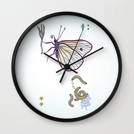 happy cabbage butterfly Wall Clock