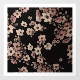 FLORAL PINK CHERRY BLOSSOM Art Print