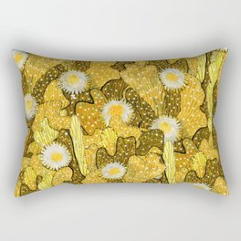 Cacti Camouflage, Floral Pattern, Golden Husk Rectangular Pillow