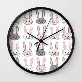 Cute Easter bunny rabbits easter pattern. Happy Easter. Wall Clock