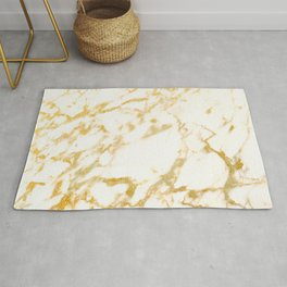 Ivory White Marble With Gold Glitter Ribboned Veins Rug