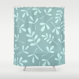 Assorted Leaf Silhouettes Teals Shower Curtain