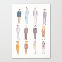 wes anderson Canvas Prints featuring Wes Anderson movie characters by SatsumaOrange