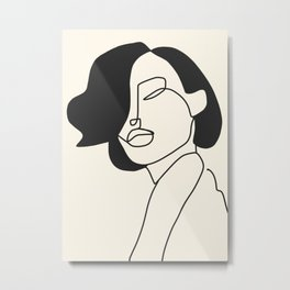 Drawing female face portrait II Metal Print