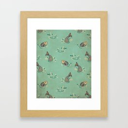 Jumping Fish on Aqua - Kitschy Fish in Mid Century Style Framed Art Print