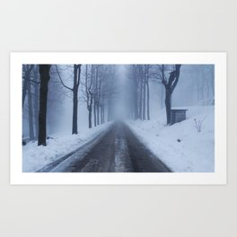 A snowy day out Art Print