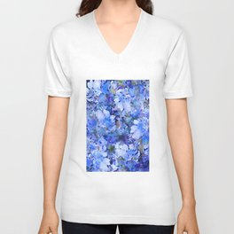 Wild Blue Rose Garden Unisex V-Neck