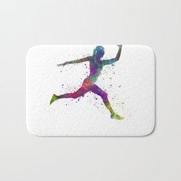 Woman runner running jumping Bath Mat