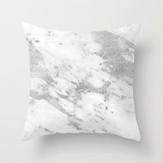 Marble - Silver and White Marble Pattern Throw Pillow