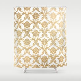 Gold swirls damask #4 Shower Curtain